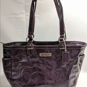 Signature Coach Patent Leather Quilted Tote